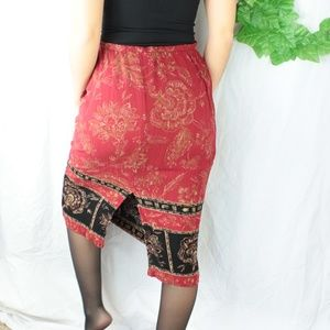Skirts - Vintage Rayon Maxi/Midi Skirt Red/Black Floral S